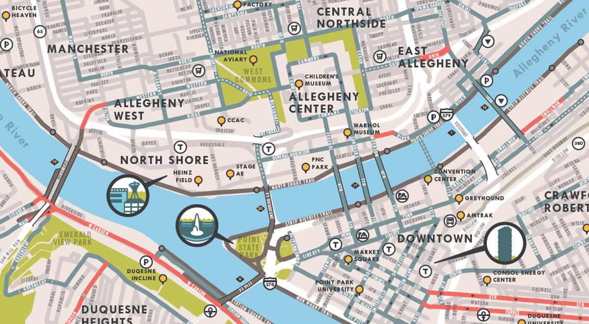 Bike Trails In Ohio Map.Pittsburgh Bike Map