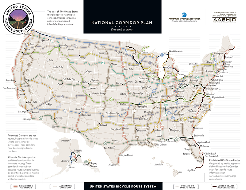 Us Bicycle Route 50 Map U.S. Bicycle Route System